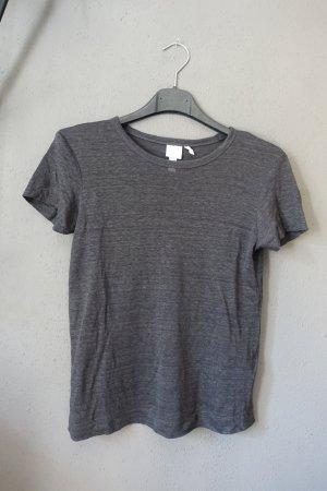 T-Shirt, H&M, Leinen, Kurzarm, grau, anthrazit, wie neu, Basic Shirt