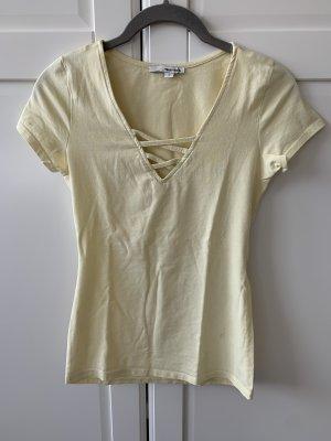 T-Shirt hellgelb sonnengelb Tally Weijl gekreuzt Shirt Oberteil S 36