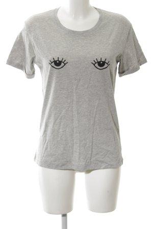 T-Shirt hellgrau platzierter Druck Casual-Look