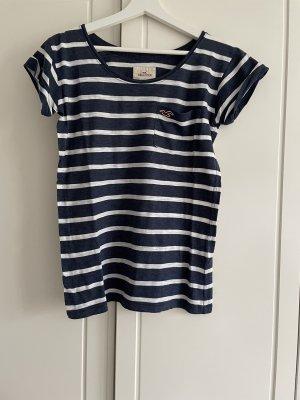 T-Shirt Hollister blau-weiß gestreift