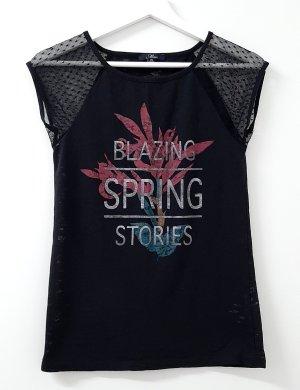 T-Shirt in schwarz von Mavi Gr. XS mit print und meshärmel bluse