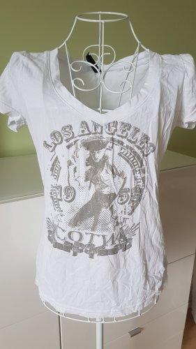 T-Shirt in weiß mit Glitzeraufdruck Gr. 36