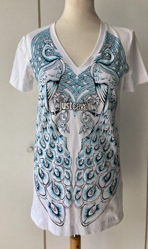 Just cavalli T-shirt imprimé blanc-turquoise
