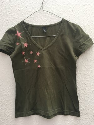 T Shirt Khaki Olive mit rosa Sternen glitzer Crop Look XS
