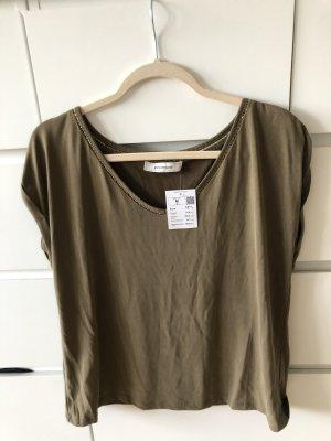 T Shirt khaki von Promid in M - goldene naht am Ausschnitt