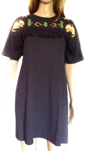 T—Shirt Kleid mit buntem Print & Fransen
