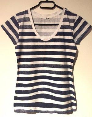 V-hals shirt wit-blauw