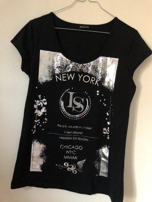 Laura Scott T-shirt zwart-zilver