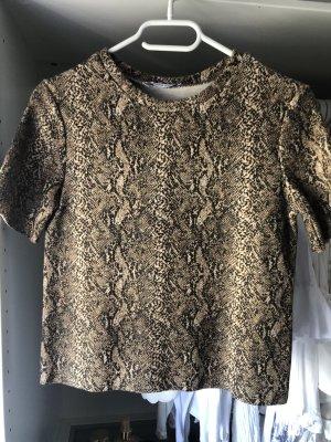 Zara Prążkowana koszulka jasnobrązowy-brązowy