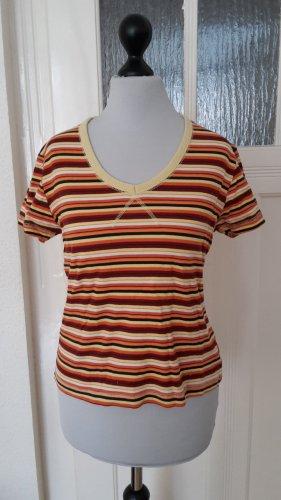 T-Shirt - Lerross - mit Streifen - orangsch Größe S