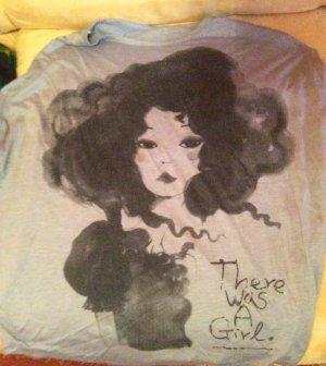 T-Shirt Mädel Manga vintage grau Fledermaus Ärmel
