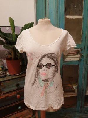 T Shirt Maison Scotch  S weiß mit Print