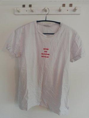 T-Shirt Mango S 36 rot weiß Aufdruck