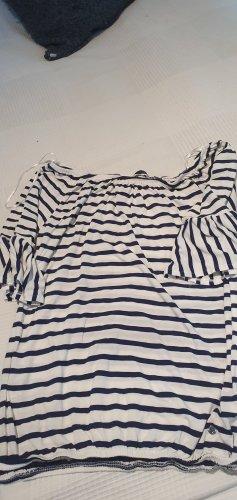 Tchibo / TCM Carmen Shirt dark blue-pale yellow cotton