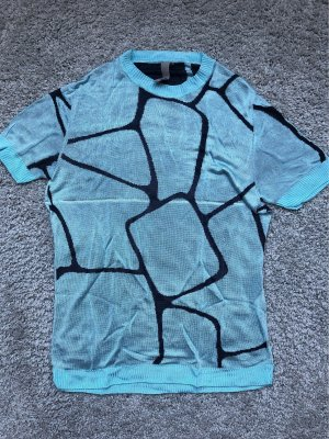 Gebreid shirt lichtblauw-donkerblauw