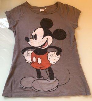 T-Shirt Micky Maus mit Strasssteinchen grau Gr. M