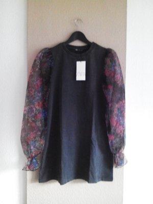 T-Shirt Minikleid mit Organza-Ärmeln, Grösse S, neu