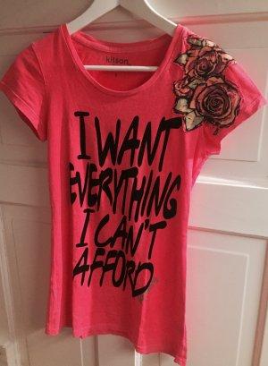 T Shirt mit Aufdruck und Blumenapplikation
