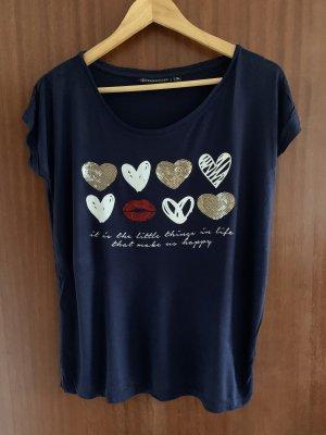 T-Shirt mit bedruck und paietten
