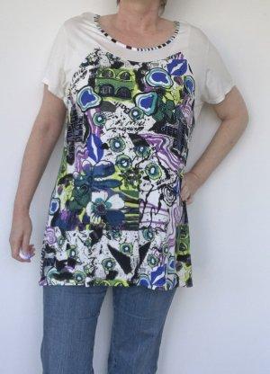 T-Shirt mit blau-grünem Muster, Größe 46