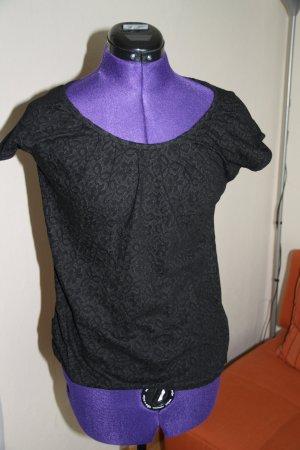 T-Shirt mit Blumen schwarz