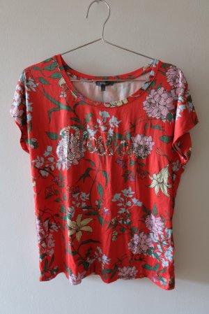 T-Shirt mit Blumenmuster und Pailletten