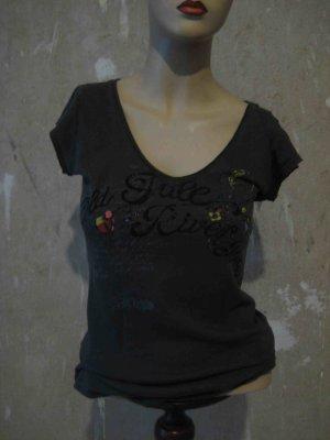 T-Shirt mit Blumenmuster und Schriftzug - casual Look