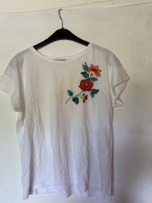 T-Shirt mit bunten Blumen Stickdetails