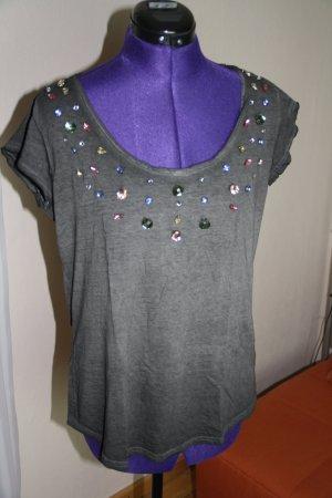 T-Shirt mit bunten Glassteinen