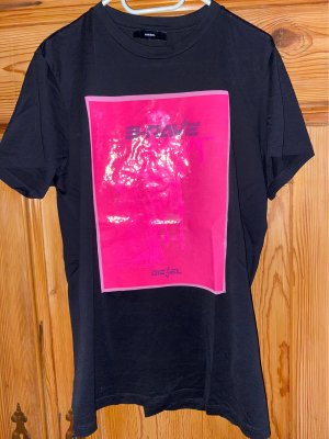 Diesel T-shirt noir-rose fluo