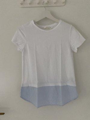 T-Shirt mit gestreiftem Blusensaum