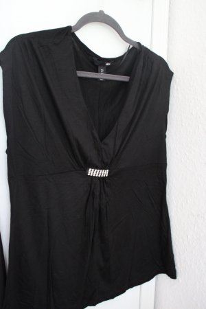 H&M T-shirt czarny-srebrny
