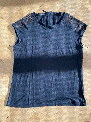 T-Shirt mit Goldapplikationen, Stoff: Leinen-Optik