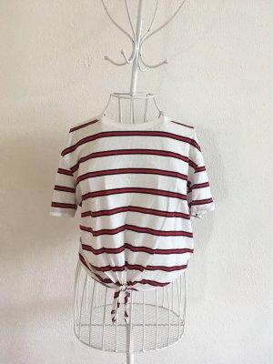 T-shirt mit Knotem und Streifen