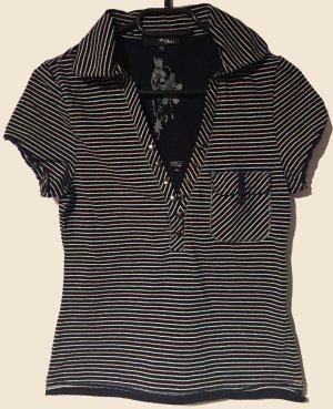 T-Shirt mit Kragen, kurzärmlig, V-Schnitt, Gr. XS