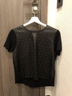 T-Shirt mit Lederimitat an der Vorderseite