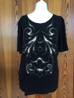 T-Shirt mit Muster, Applikation, Perlen