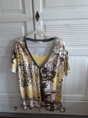 T-Shirt mit Muster und Perlen