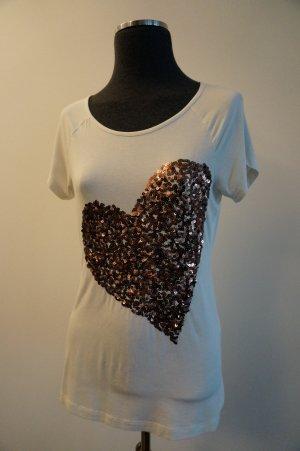 T-Shirt mit Pailletten-Herz Gr. 34
