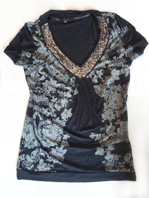 T-Shirt mit Pailletten und grauem, Blumenmuster