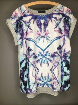 T-Shirt mit Palmenprint Lila/ Blau