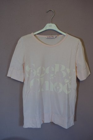 T-Shirt mit Print, Logo Shirt, See by Chloé, rosa, weiß, ungetragen!