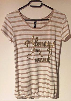 T-Shirt mit Print und Pailletten, kurzärmlig, U-Schnitt, Gr. XS