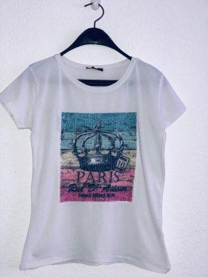 T-shirt mit Print und Pailletten S