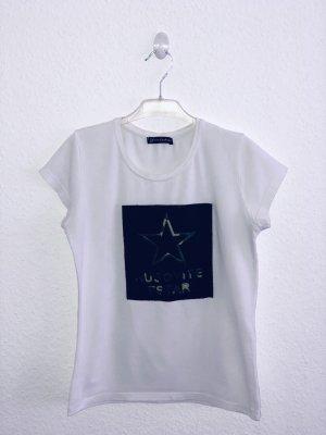 T-shirt mit Print Weiss Schwarz S