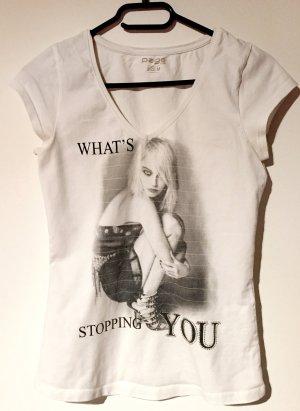 T-Shirt mit Printmotiv und Strass, kurzärmlig, V-Schnitt, Gr. M