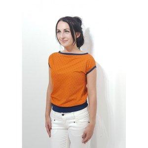 Top épaules dénudées orange-bleu foncé coton