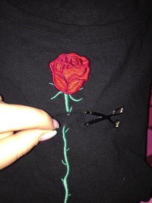T-Shirt mit Rose und Schere