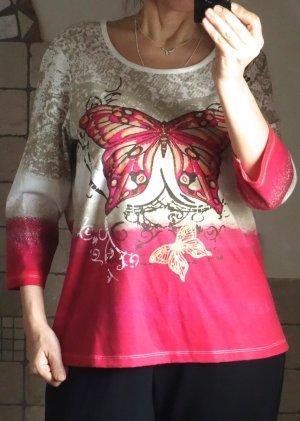 T-Shirt mit Schmetterlings Aufdruck, Batik Style, künstlerisch, cremeweiß/beige/pink etwas braun/orange, 35% Baumwolle, 65% Polyester, 3/4 Arm, neu, ungetragen, Gr. 42