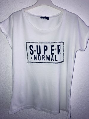 T-shirt mit Schmuck steinchen Weiß S